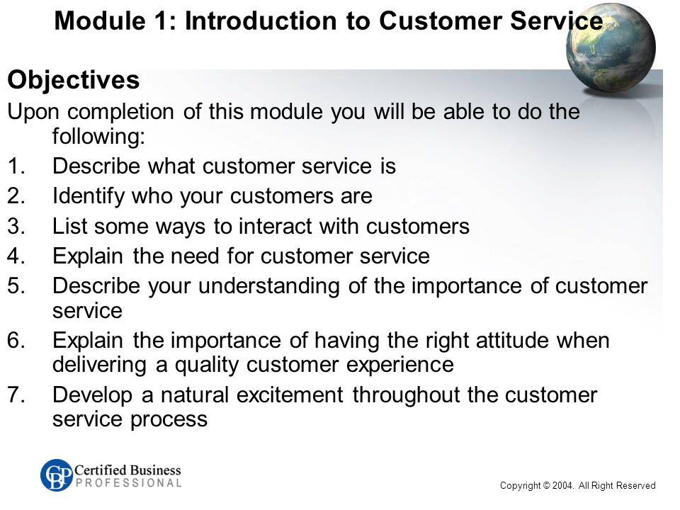 CBP™ Customer Service Series EXAM C Introduction Name Work