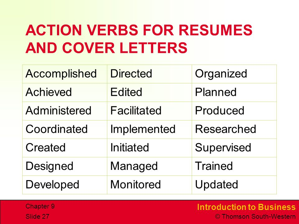 Resume cover letter action verbs College paper Academic Service - resume verbs