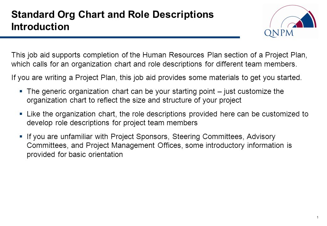 Standard Org Chart and Role Descriptions Introduction - ppt video