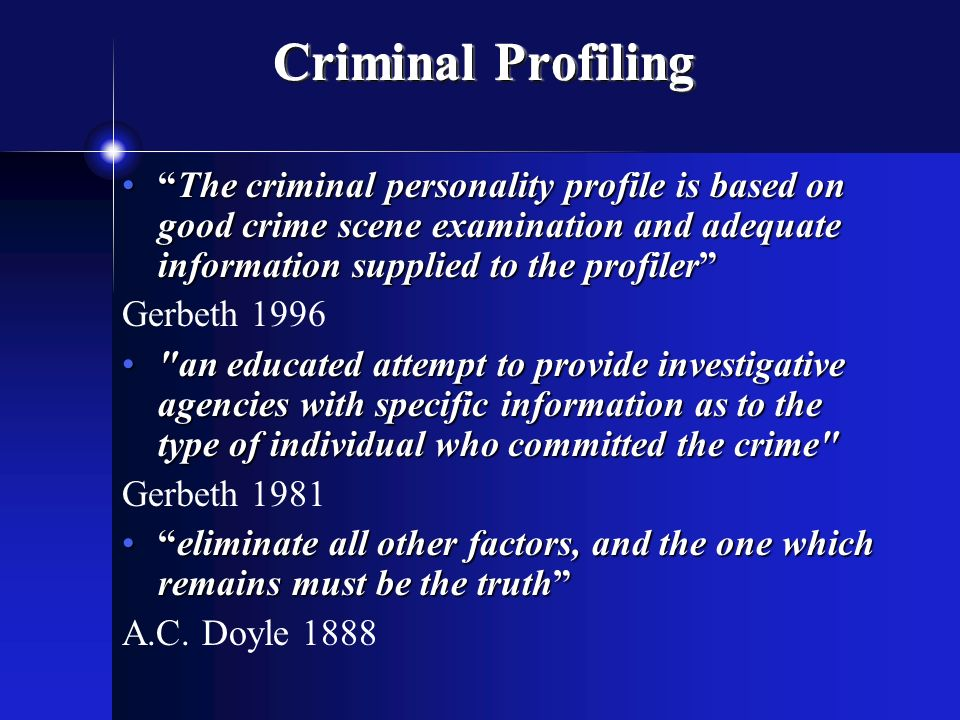 Criminal Profiling FBI (VI-CAP), Investigative Psychology