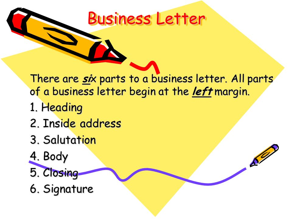 Business Letter 1 Heading 2 Inside address 3 Salutation 4 Body