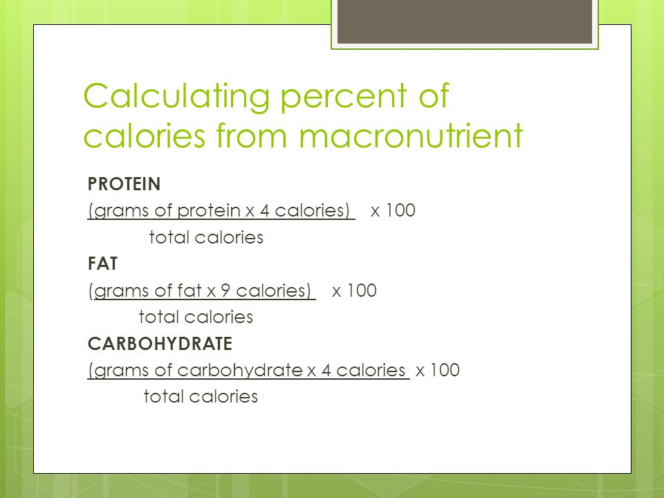 NUTRIENTS - ppt video online download - how to calculate the percentage of calories from fat
