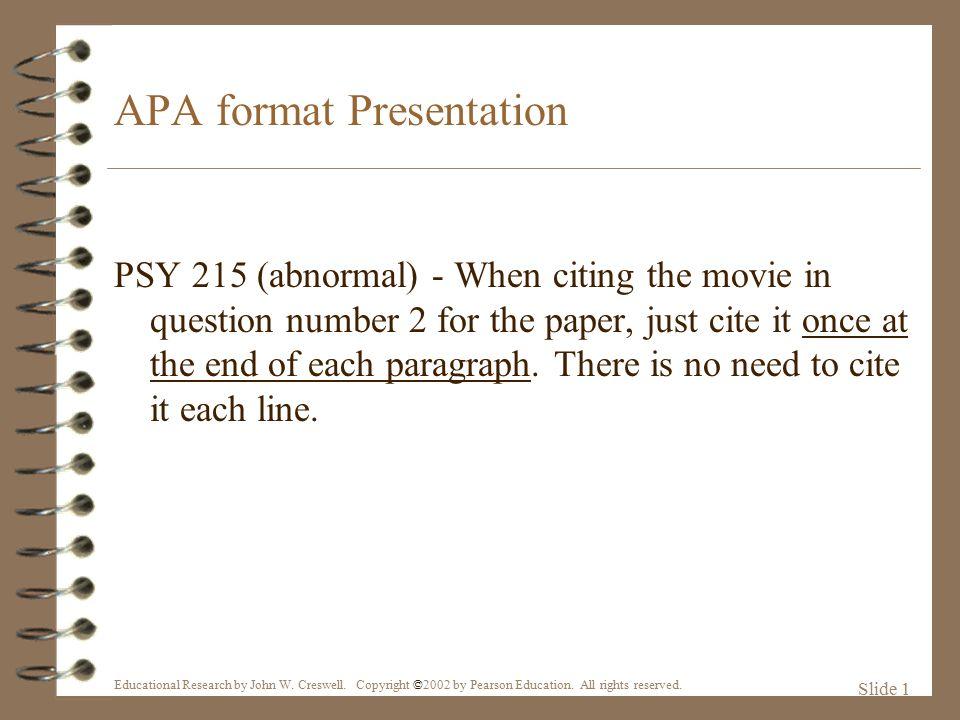 APA format Presentation - ppt video online download