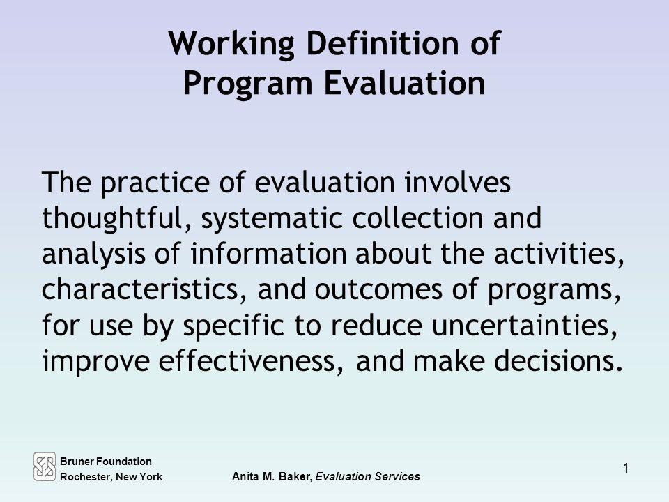 Working Definition of Program Evaluation - ppt download