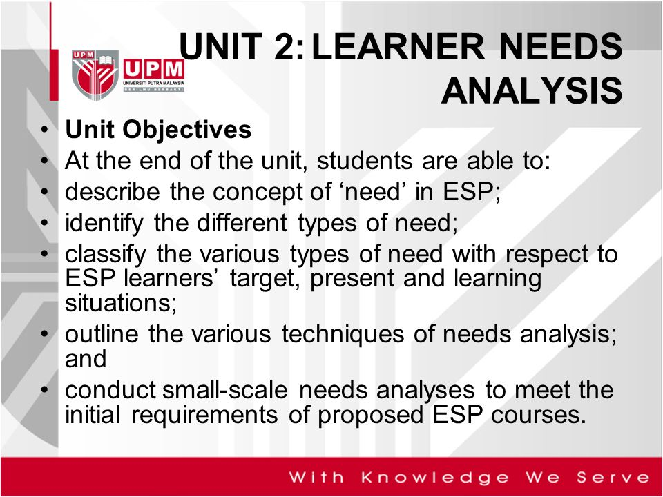 UNIT 2 LEARNER NEEDS ANALYSIS - ppt video online download