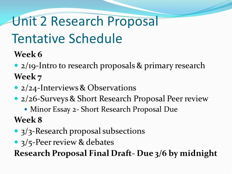 Unit 2 Research Proposal Tentative Schedule - ppt video online download