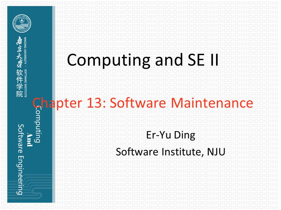 Computing and SE II Chapter 13 Software Maintenance - ppt video