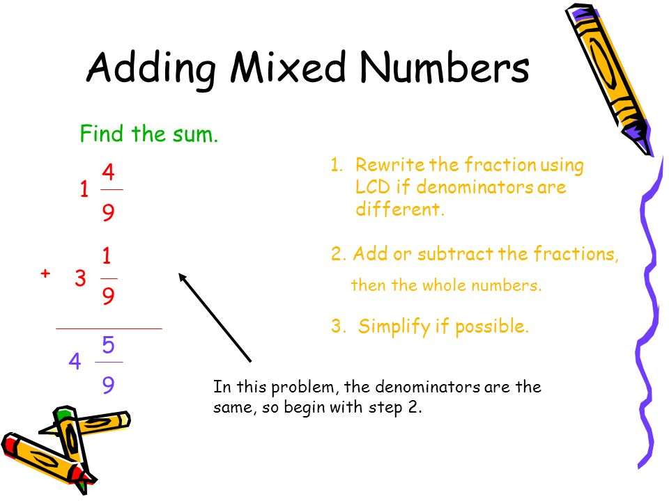64 Adding And Subtracting Mixed Numbers Ppt Video