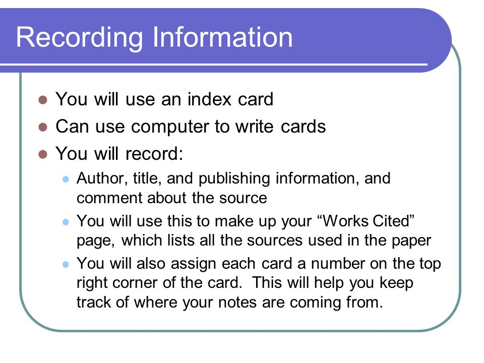 Works Cited Cards/Note Cards Difference between MLA/APA - ppt video
