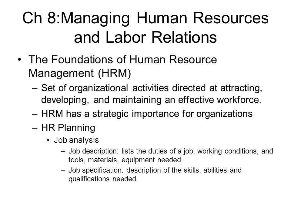 Ch 8Managing Human Resources and Labor Relations - ppt download