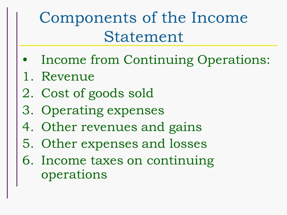 Chapter 4 Schedule 9/26 Income Measurement and Income Statement Form