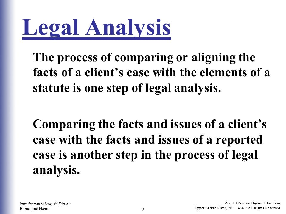 Using the Law Analysis and Legal Writing - ppt video online download