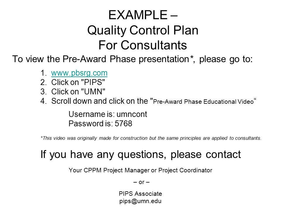 EXAMPLE \u2013 Quality Control Plan For Consultants - ppt video online