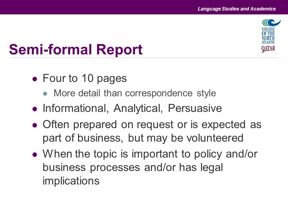 Differences and similarities with informal and formal reports - ppt