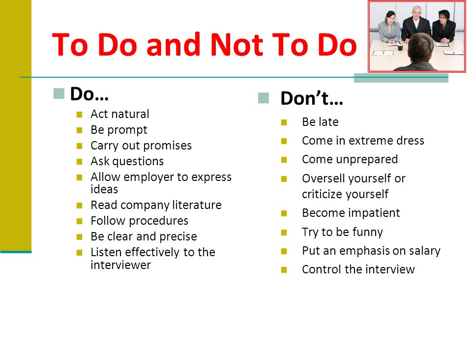 Before the Interview During the Interview After the Interview - ppt
