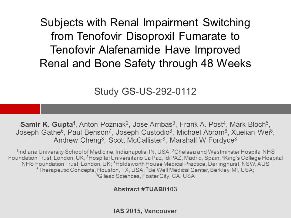 Subjects with Renal Impairment Switching from Tenofovir Disoproxil