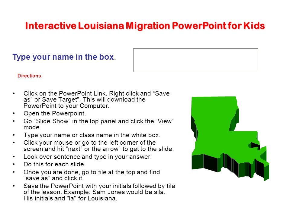 Interactive Louisiana Migration PowerPoint for Kids - ppt download