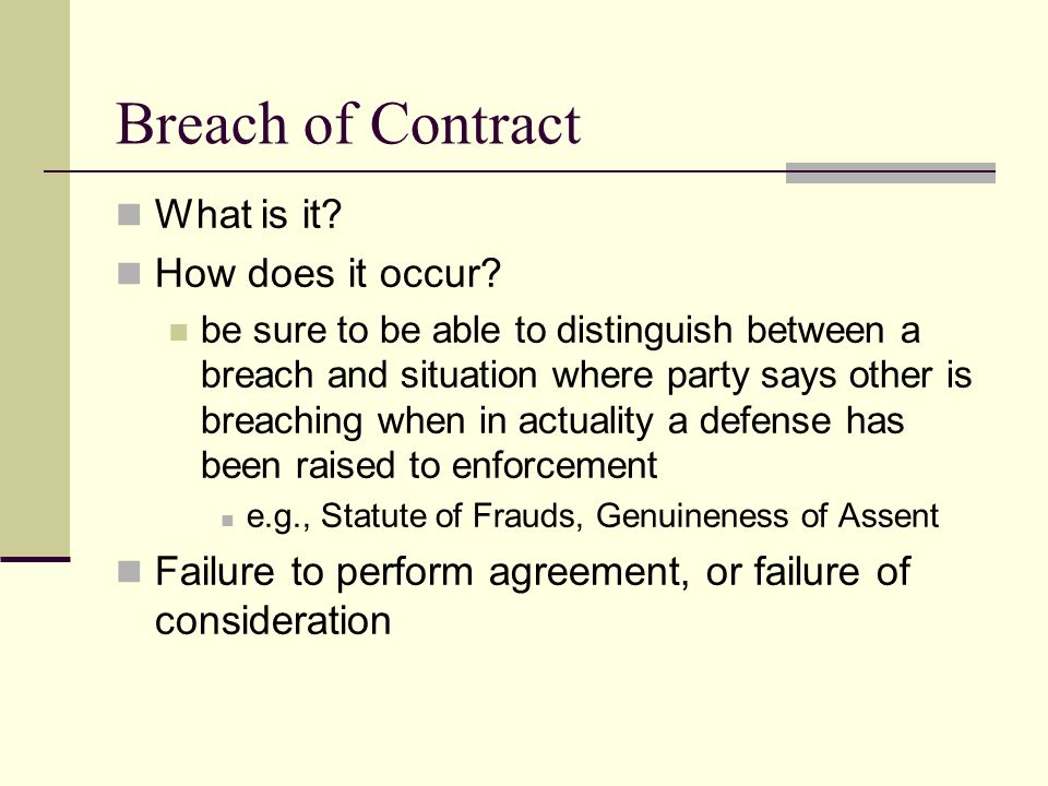 Breach of Contract and Remedies - ppt video online download - breach of employment contract