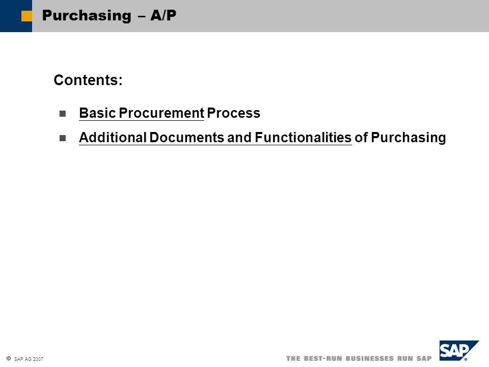 Purchasing \u2013 A/P Contents Basic Procurement Process - ppt download