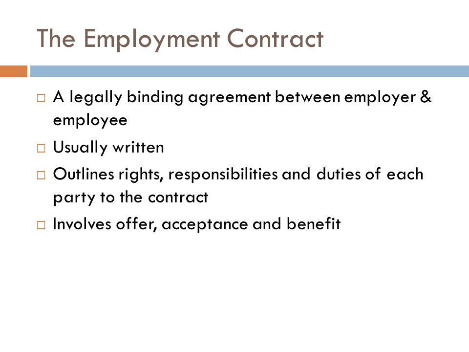 The Employment Contract - ppt video online download