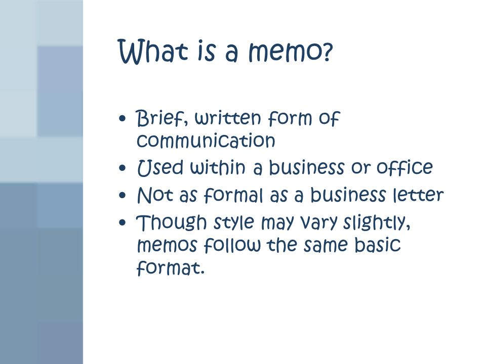 Memo Formatting - ppt video online download