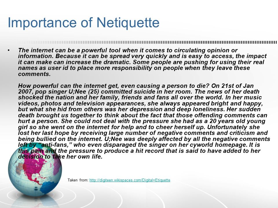 Importance+of+Netiquettejpg (960×720) Netiquette Pinterest - self introduction speech examples