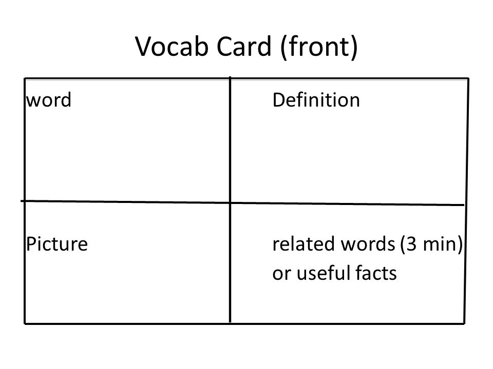 Vocabulary Cards - ppt download - vocab cards