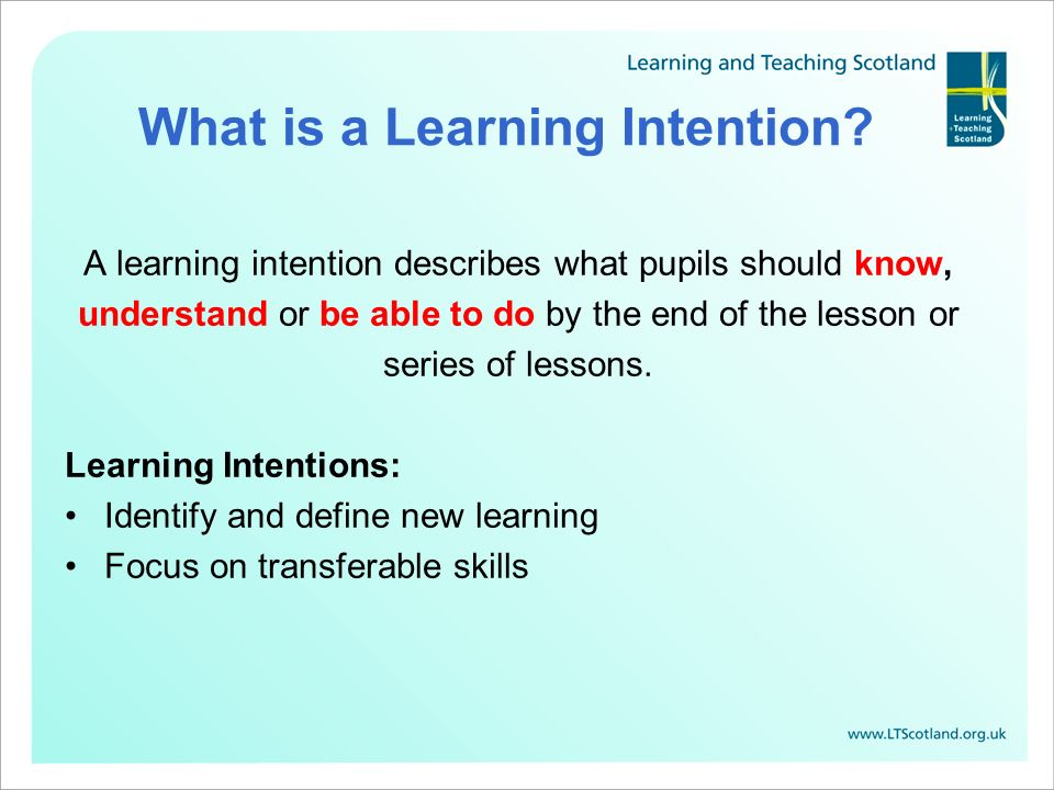 Making sense of Learning Intentions and Success Criteria - ppt download