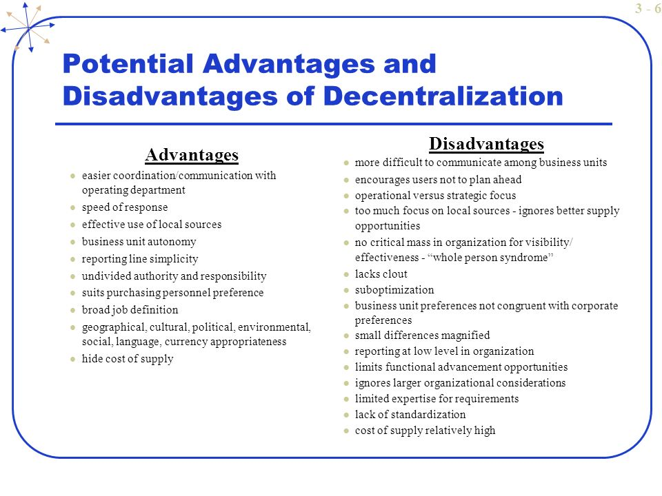 Advantages and disadvantages of decentralization purchase Essay - geographic preference definition