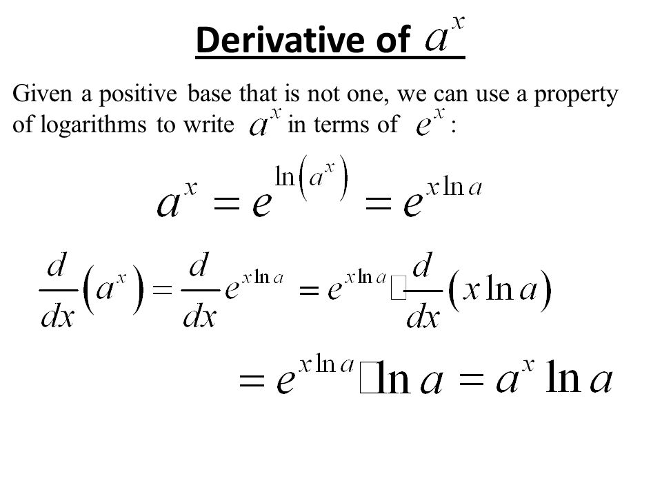 Derivatives of exponential and logarithmic functions - ppt video