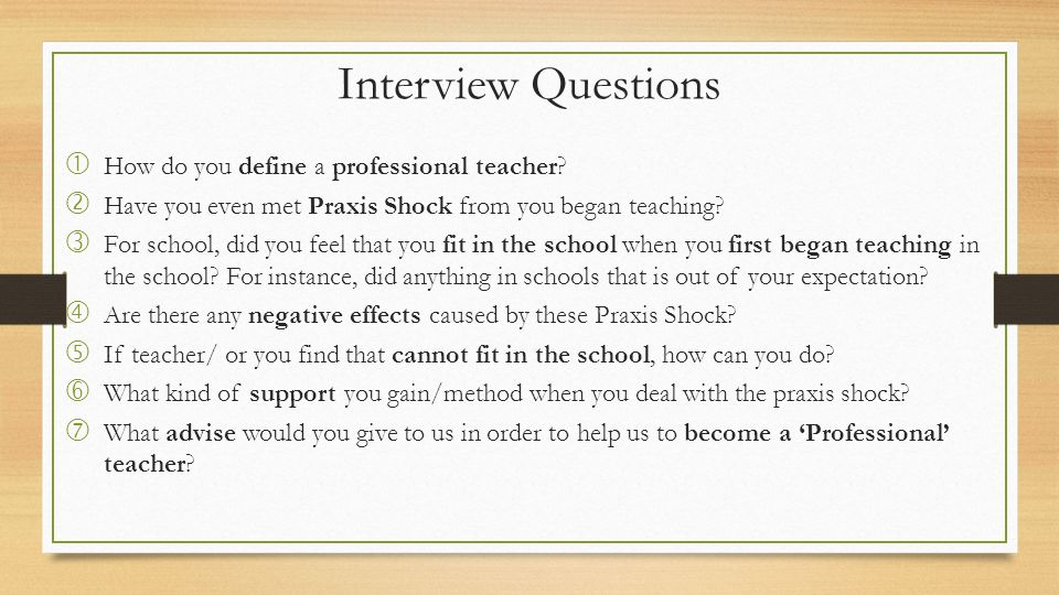 EDA 3026 Teachers and Teaching in Context Fitting in School - interview questions for teachers