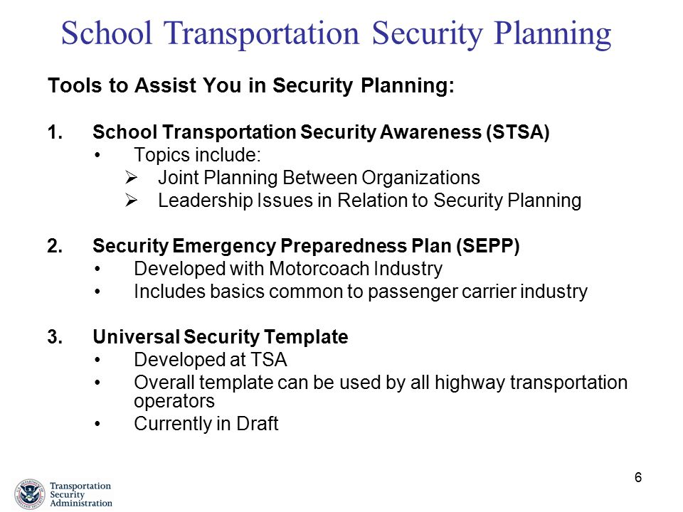 School Transportation Security, Strategy, Plans and Programs - ppt - security plan template