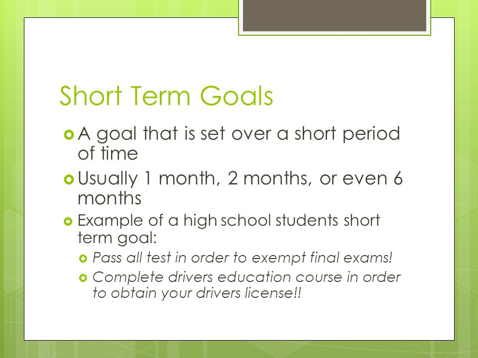 Short term goals after high school Custom paper Service