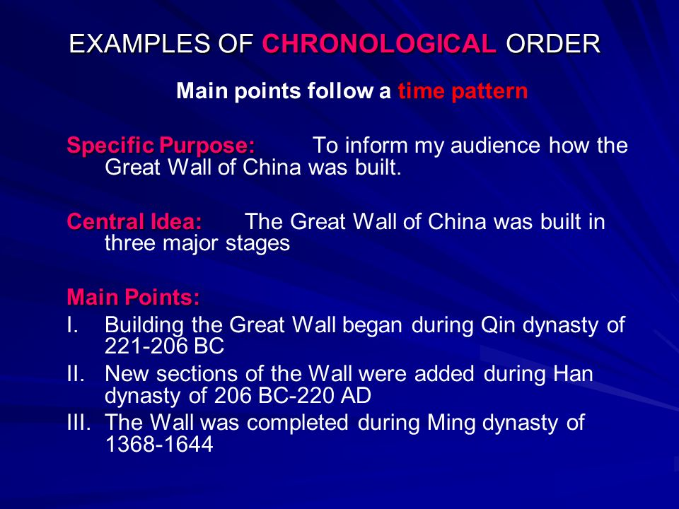 EXAMPLES OF CHRONOLOGICAL ORDER - ppt video online download