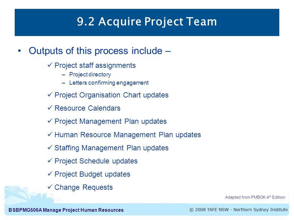 Manage Project Human Resources Human Resource Management Processes