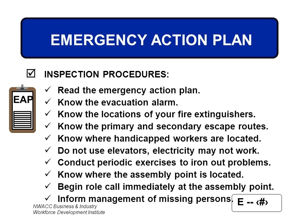 EMERGENCY ACTION PLAN INSPECTION PROCEDURES EAP - ppt video online