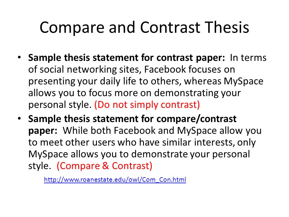 Thesis Statement Example For Compare And Contrast Essay Mistyhamel