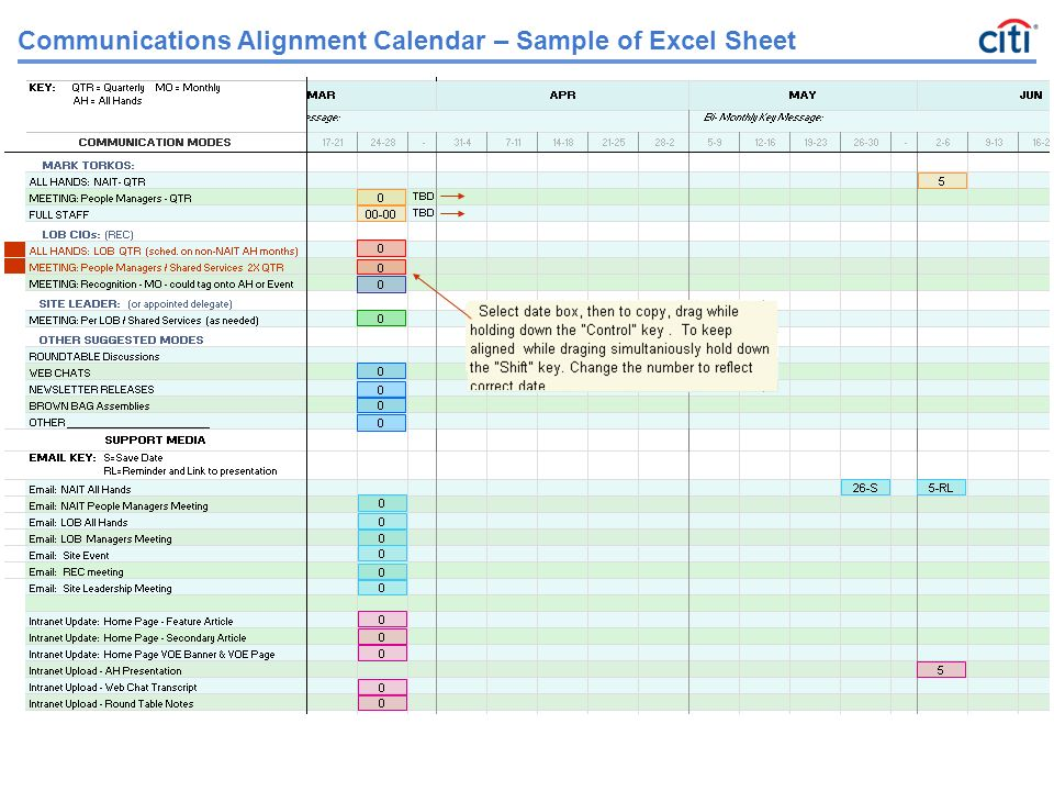 Communications Alignment Calendar \u2013 Sample of Excel Sheet - ppt