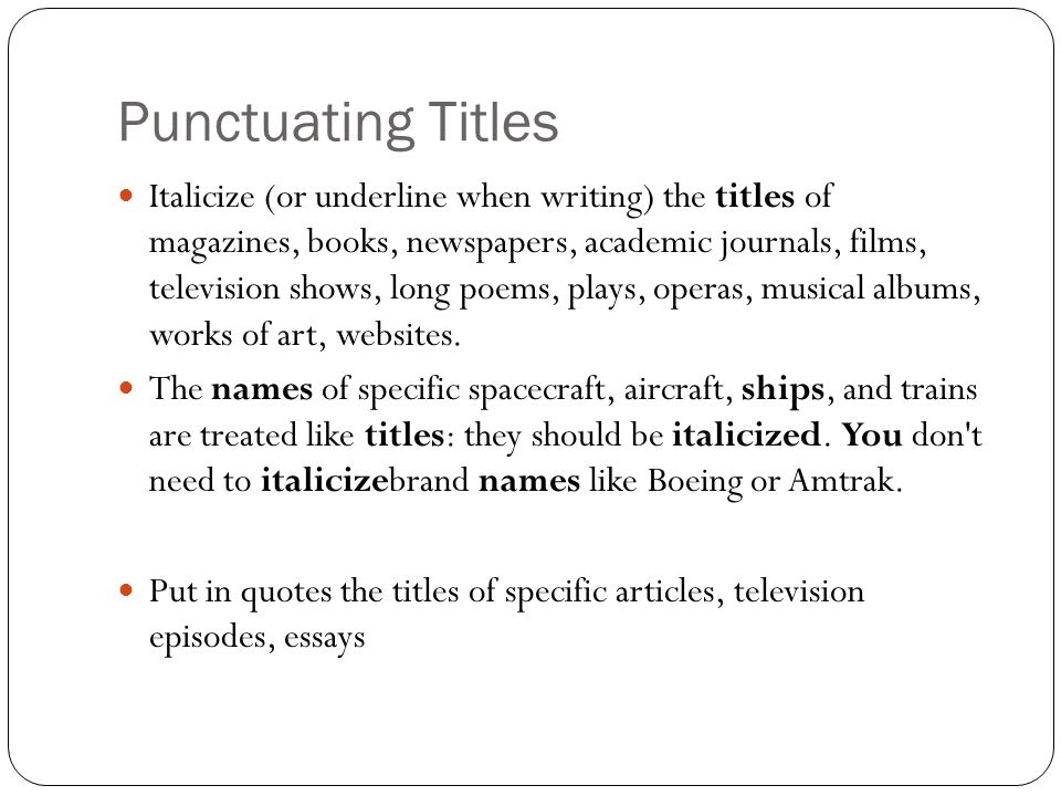 Capitalization  Punctuating Titles - ppt download