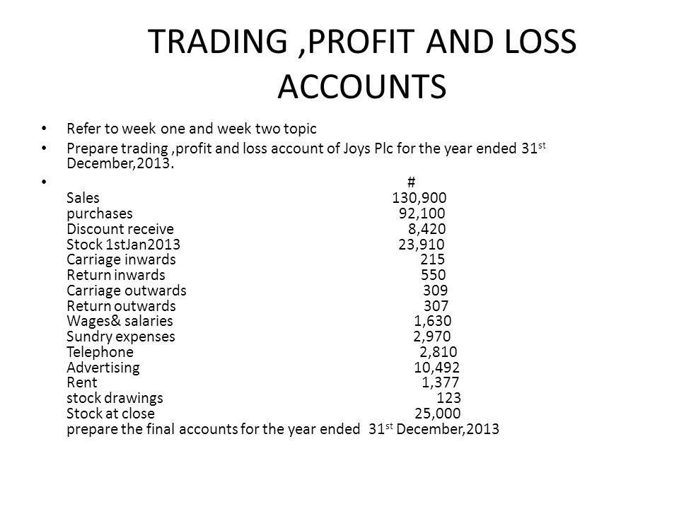 FINANCIAL ACCOUNTING SS2 - ppt video online download - how to prepare profit and loss account