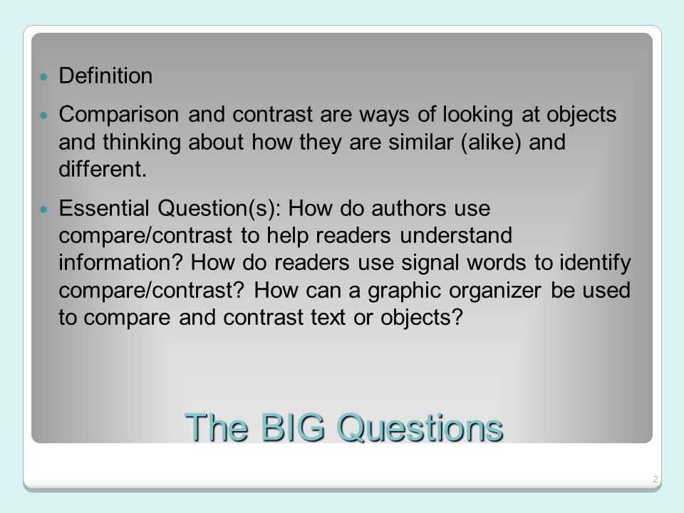 compare and contrast 18 essay Choosing compare and contrast essay topics another important question is how to choose the right essay topics the process starts with brainstorming and deep research to find a broad array of things that the topics have in common and different traits.