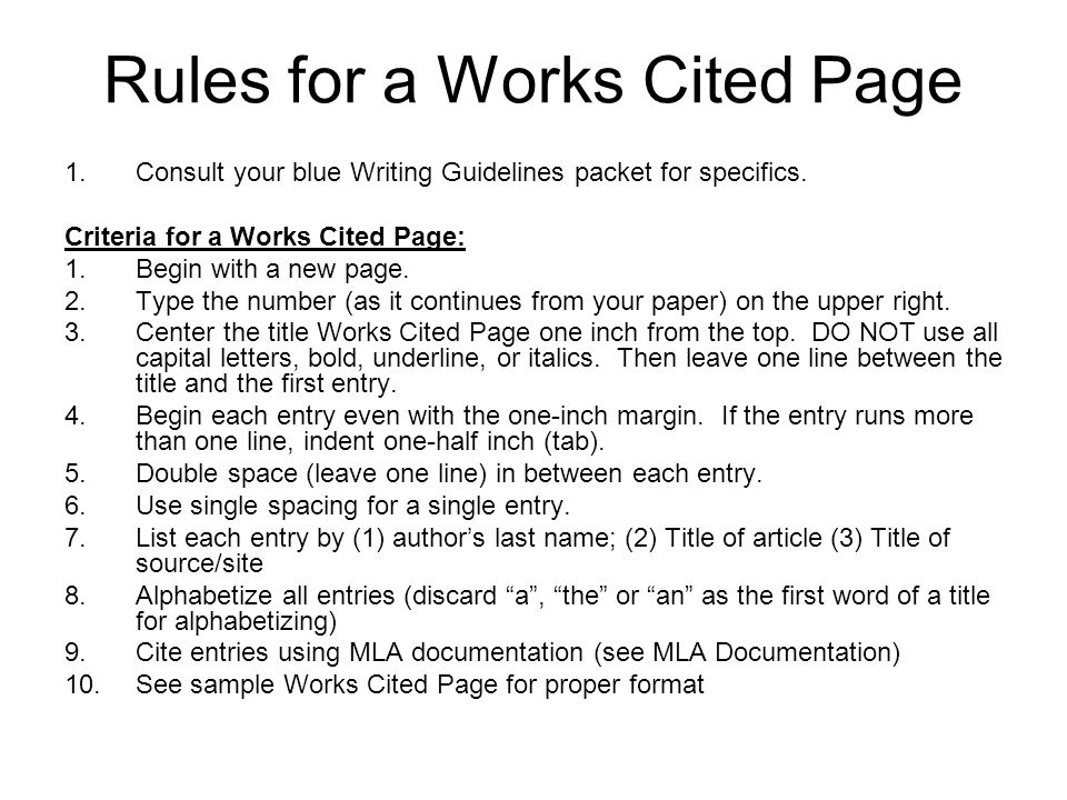 Works Cited Page - ppt download