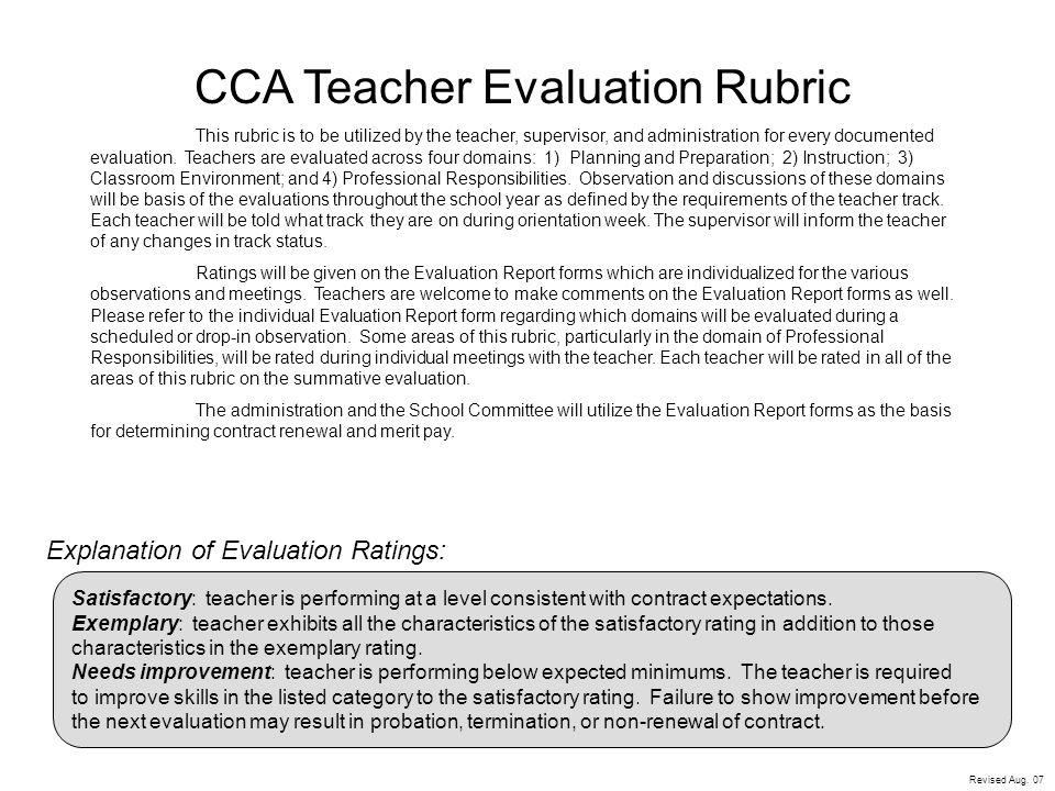 CCA Teacher Evaluation Rubric - ppt video online download