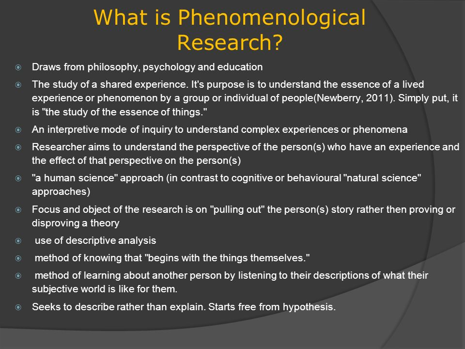 Phenomenological Research - ppt download