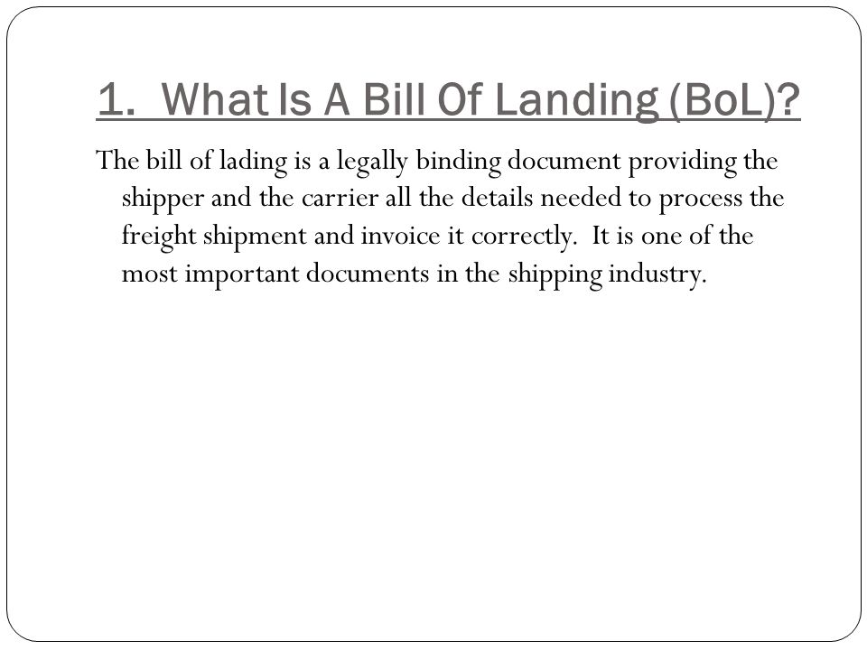 Unit 6 Bills Of Lading - ppt video online download - shipping bol