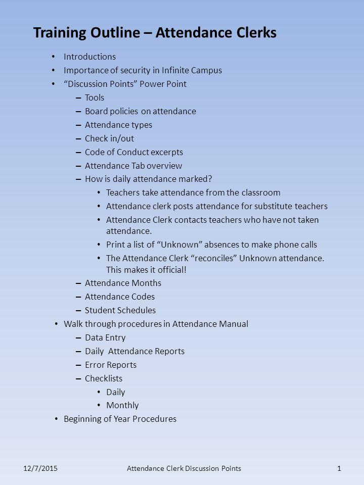 Training Outline \u2013 Attendance Clerks - ppt download
