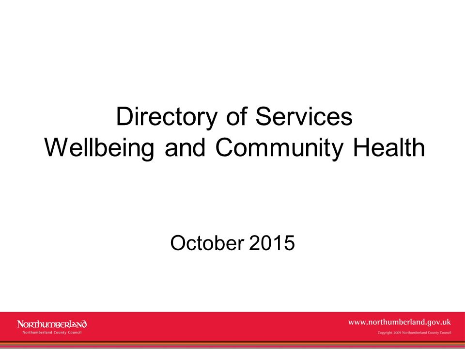 Directory of Services Wellbeing and Community Health - ppt video - community service directory