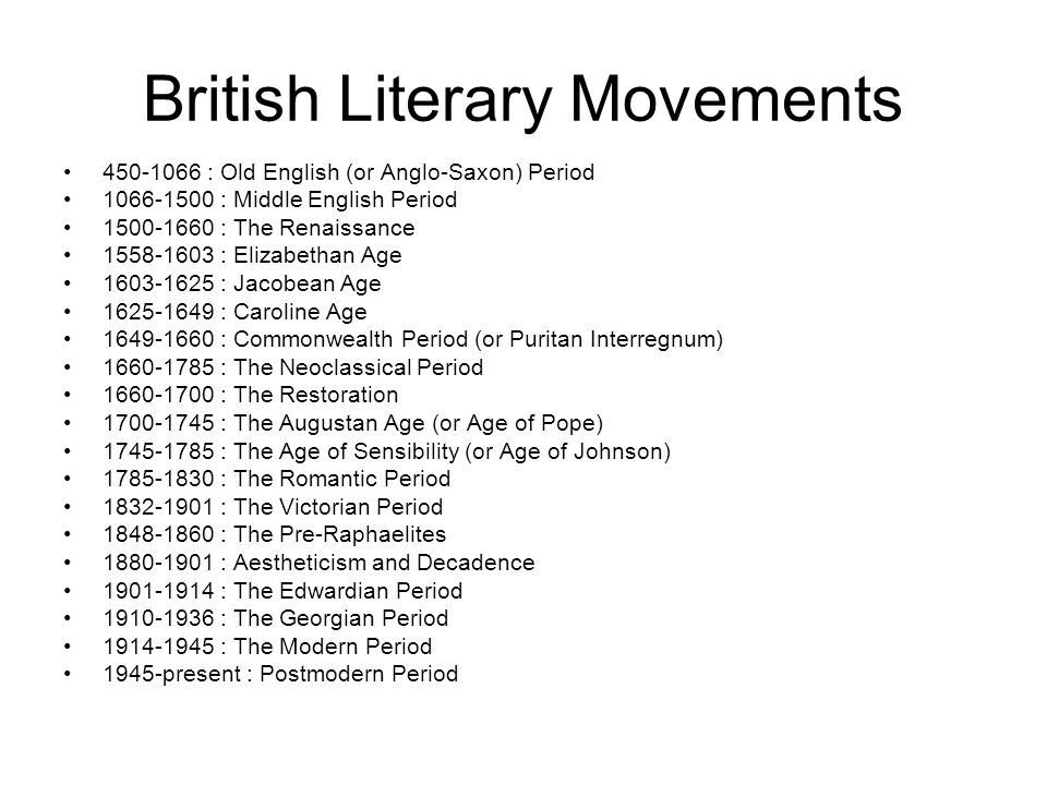 Major Literary Movements - ppt video online download