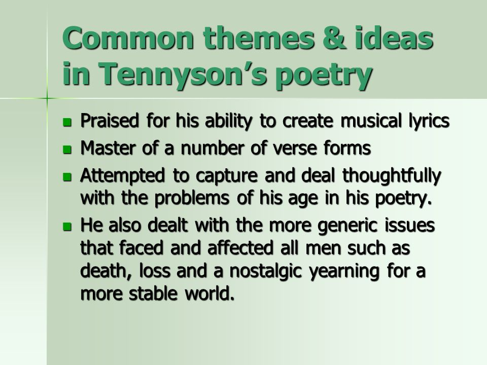 Alfred Lord Tennyson Selected poetry - ppt video online download