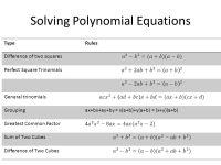 Solving Polynomial Equations Worksheet - Rcnschool